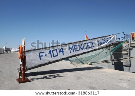 ALICANTE, SPAIN - SEPTEMBER 19: Gangway of the frigate F-104 MENDEZ NUÃ?EZ of the Spanish Navy docked in the port of Alicante in the Mediterranean Sea, on September 19, 2015 in Alicante. - stock photo
