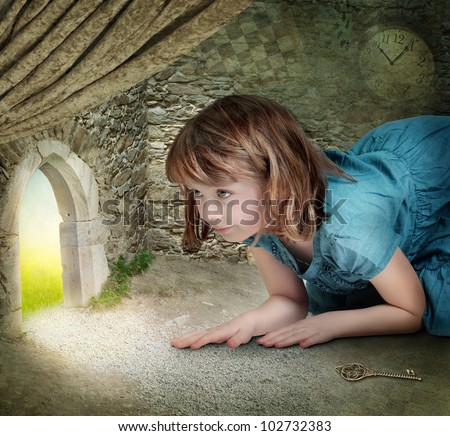 Alice finding tiny door behind curtain - stock photo
