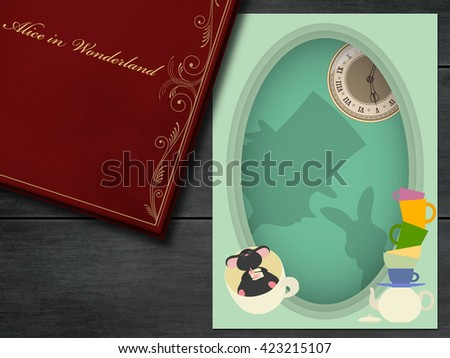 Alice in Wonderland. Mad tea party with Hatter, Dormouse and White Rabbit. 3D illustration. - stock photo