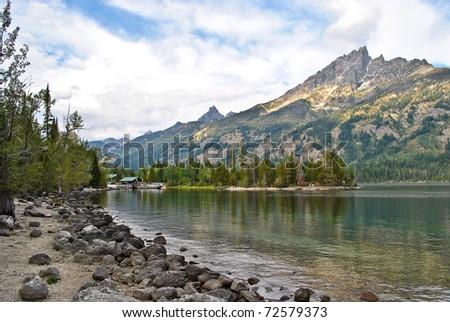 Alice Lake in Grand Tetons National Park - stock photo
