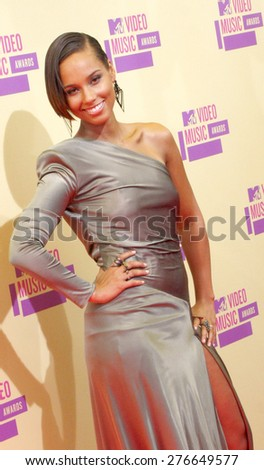 Alicia Keys at the 2012 MTV Video Music Awards held at the Staples Center in Los Angeles, United States on September 6, 2012.  - stock photo