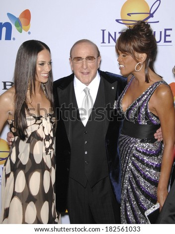 Alicia Keys, Clive Davis, Whitney Houston at Pre-Grammy Party for Clive Davis, Beverly Hilton Hotel, Los Angeles, CA, February 09, 2008 - stock photo