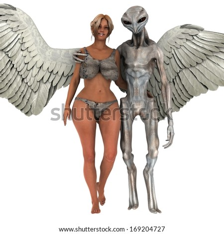 Alien and Angel Woman in Love - stock photo