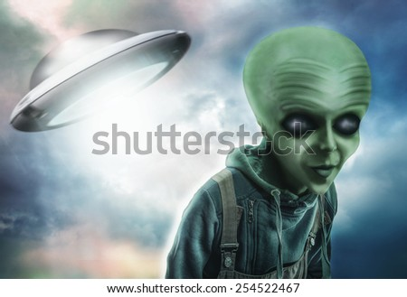 Alien and UFO - stock photo