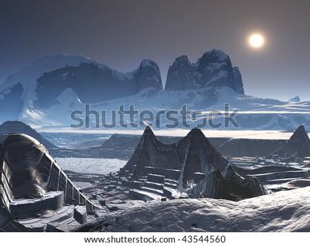 Alien City in the Snow - stock photo
