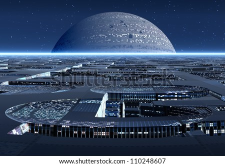 Alien City on an Alien Planet - stock photo