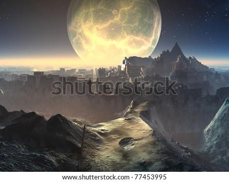 Alien City Ruins by Moonlight - stock photo