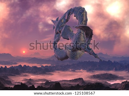 Alien craft in flight over hostile , mountain landscape covered with fog. - stock photo