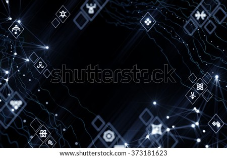 Alien Cyberspace. 3d rendered graphic composition with realistic depth of field blur effect. - stock photo