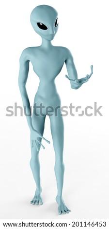 Alien Humanoid Full-length Standing Pose. Isolated on White - stock photo