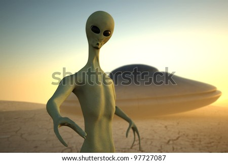 Alien in desert on sunset background with UFO on second plane. Realistic 3D render with focus effect - stock photo