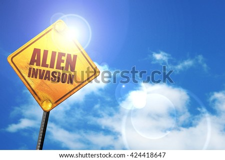 alien invasion, 3D rendering, a yellow road sign - stock photo