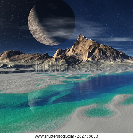 Alien Landscape - 3D rendered fantasy artwork - stock photo