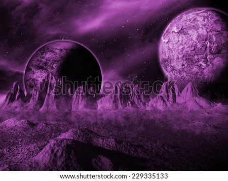 Alien moon rises over a distant planet. Purple Space Scene/Background - stock photo