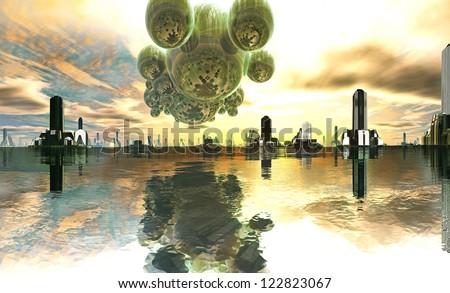 Alien Mother-ship over Futuristic City - stock photo