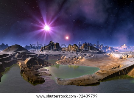 Alien Planet and Stars, fantasy planet somewhere in the universe - stock photo