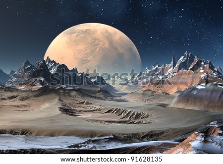 Alien Planet, fantasy planet somewhere in the universe - stock photo