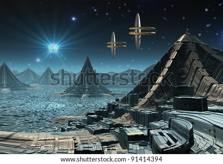 Alien Planet Hadara, fantasy city somewhere in the universe - stock photo