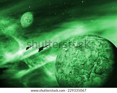 Alien planet in a distant space nebula. Green Space Scene/Background - stock photo