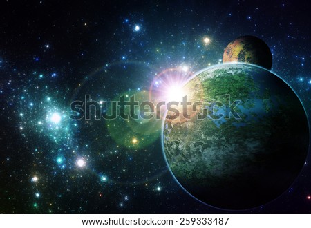 Alien planet in deep space illustration - stock photo