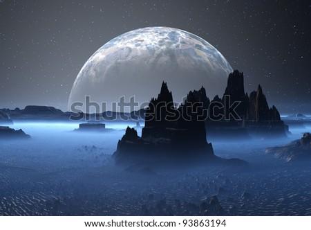 Alien Planet with Moon, fantasy planet somewhere in the universe - stock photo