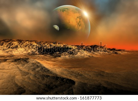 Alien Planet with Mountains and a Moon - 3D Rendered Computer Artwork - stock photo