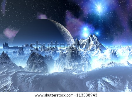 Alien Planet with Mountains, Ice and Snow - stock photo