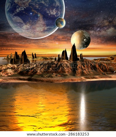 Alien Planet With planets, Earth Moon And Mountains . 3D Rendered Computer Artwork. Elements of this image furnished by NASA - stock photo