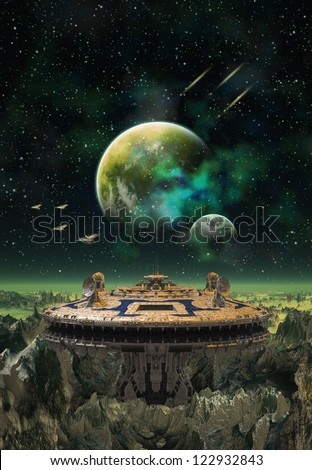 Alien Planet With Space Station and Moons - stock photo
