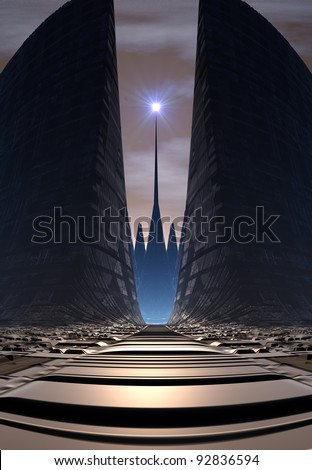 Alien Planet with Tower - stock photo