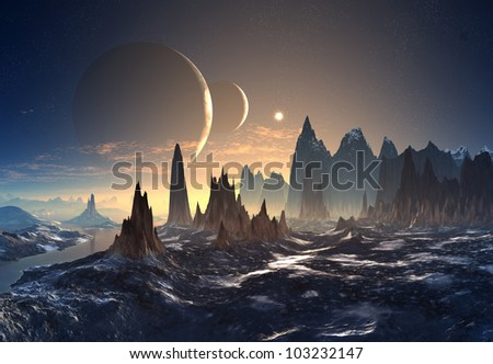Alien Planet with two Moons - stock photo