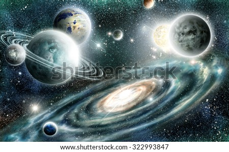 Alien planets solar system on a backdrop spiral galaxy  - stock photo