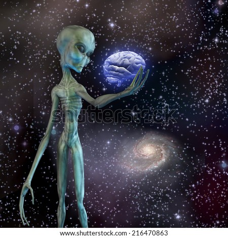Alien ponders human brain Elements of this image furnished by NASA - stock photo