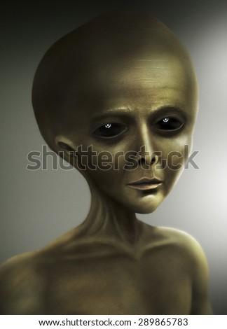 alien portrait - stock photo