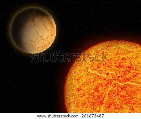 Alien sun and planet. - stock photo