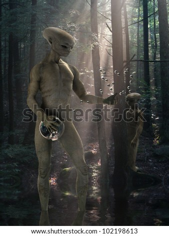 Alien technology - stock photo