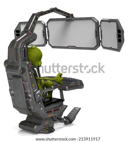 alien the gamer back view - stock photo