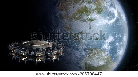 Alien UFO nearing Earth for futuristic, fantasy or interstellar deep space travel backgrounds. Earth map for this 3D image is a .jpg file provided under a general  permission by NASA. - stock photo