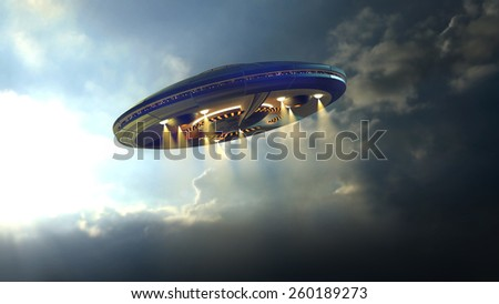 Alien UFO saucer flying on a clouds background above Earth  - stock photo