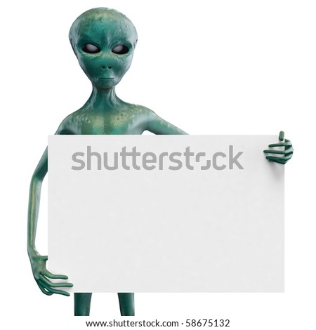 Alien with the white blank - stock photo