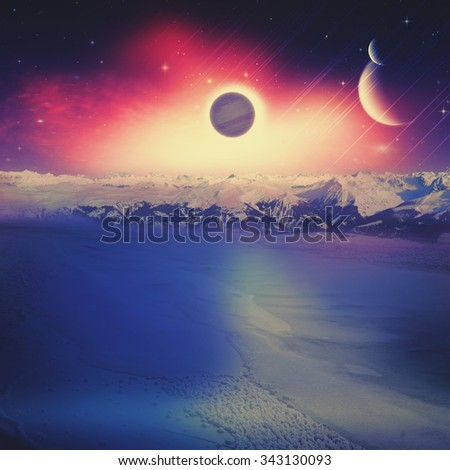 Alien worlds. Universe. Abstract science backgrounds. NASA imagery used - stock photo