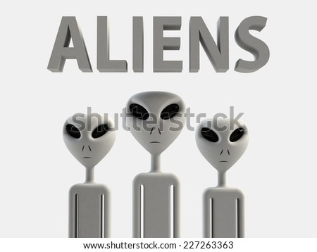 Aliens 3D effect rendering on white background - stock photo