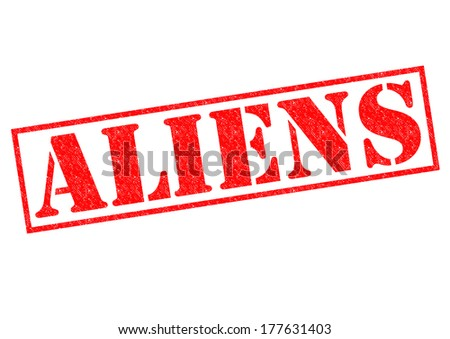 ALIENS red Rubber Stamp over a white background. - stock photo