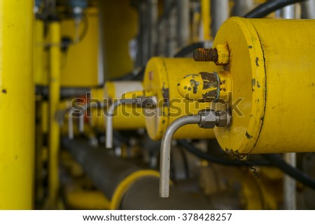 Aligned Auto Ball Valve and vent port on pipeline production and valve for oil and gas process, Pipeline construction on offshore wellhead platform, The petroleum industry. - stock photo