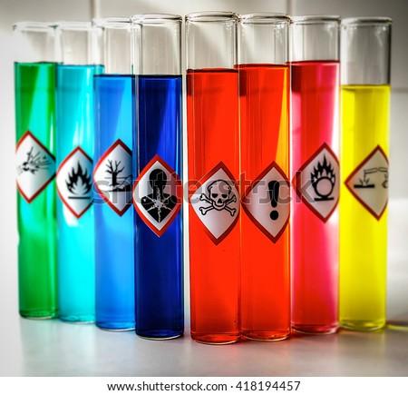 Aligned Chemical Danger pictograms - Toxic - stock photo