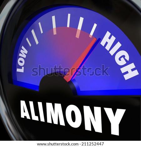 Alimony Gauge or measurement of financial spousal support in low to high payment amounts - stock photo