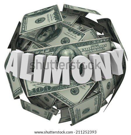 Alimony word in white 3d letters on a ball or sphere of money to illustrate financial spousal support of ex husband or wife - stock photo