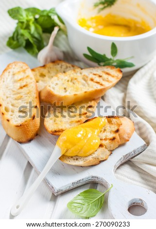 Garlic mayonnaise sauce Stock Photos, Illustrations, and Vector Art
