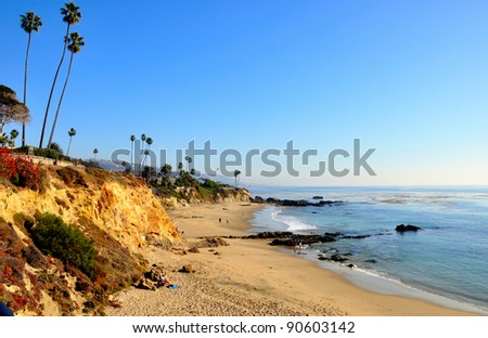 Alito Park Bluffs and Beach, Laguna Beach, California, USA - stock photo