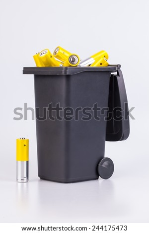 Alkaline Batteries in a bucket - stock photo